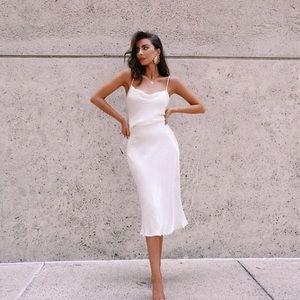 NWT Silk white midi dress